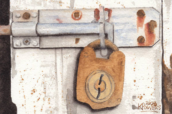 Rust Art Print featuring the painting Lock And Latch by Ken Powers