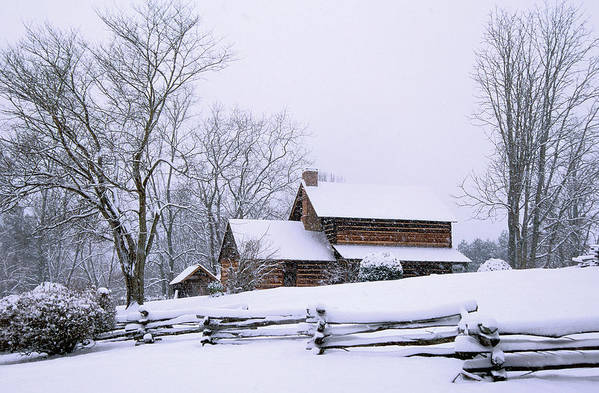 Log Cabin Art Print featuring the photograph Log Cabin In Snow by Alan Lenk