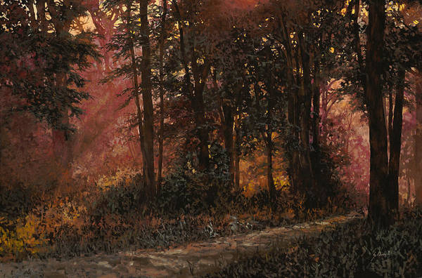 Wood Art Print featuring the painting Luci Nel Bosco by Guido Borelli