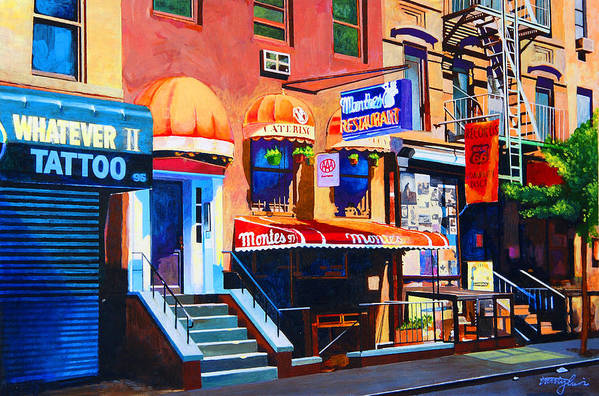 Macdougal Street Art Print featuring the painting Macdougal Street by John Tartaglione