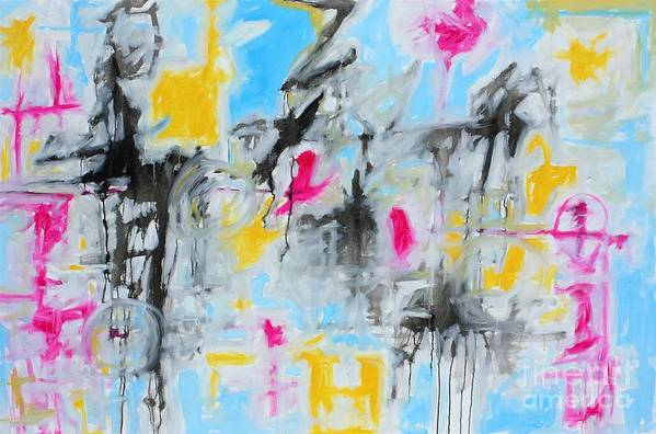 Painting Art Print featuring the painting Magenta Abstract II by Michael Henderson