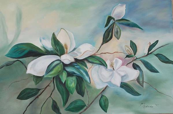 Flowers Art Print featuring the painting Magnolia Summer by Margaret Fortunato