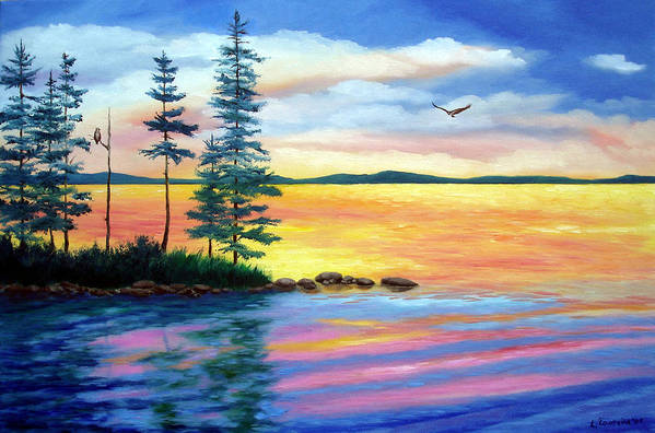 Maine Art Print featuring the painting Maine Evening Song by Laura Tasheiko