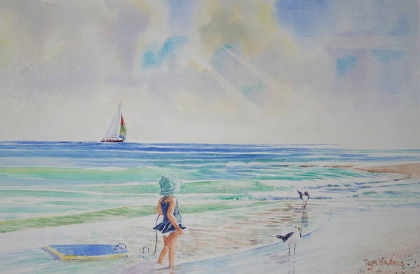 Beach Art Print featuring the painting Making Friends At The Beach by Tom Harris