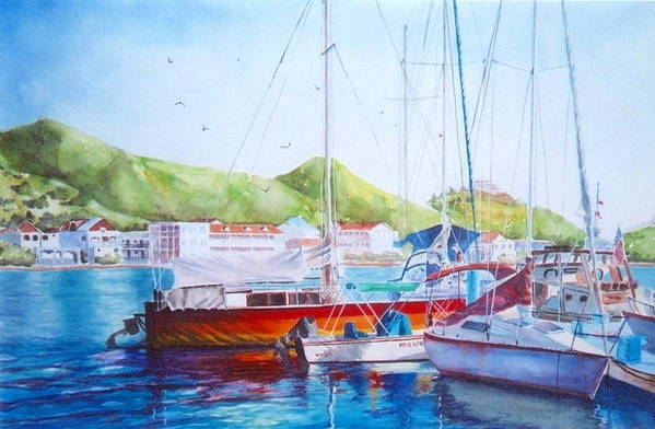 Watercolor Painting Art Print featuring the painting Maragot Harbor by Laura Lee Zanghetti