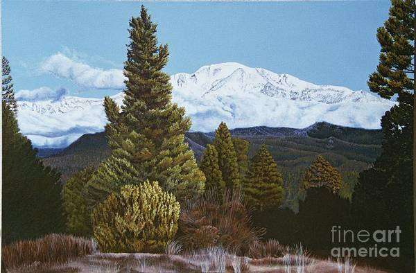 Landscape Art Print featuring the painting Marion Mountain In Winter by Jiji Lee