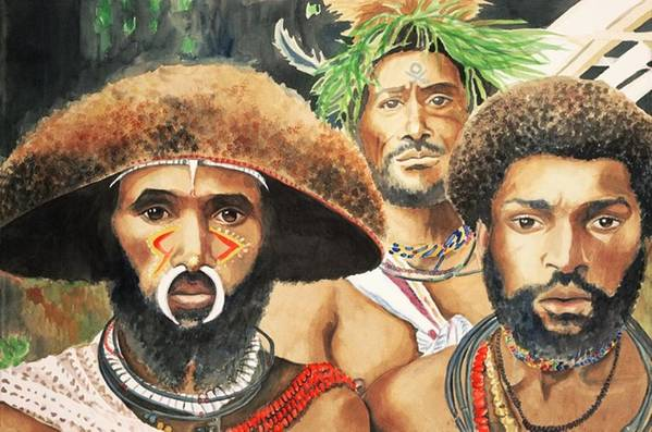 Men From New Guinea Art Print featuring the painting Men From New Guinea by Judy Swerlick