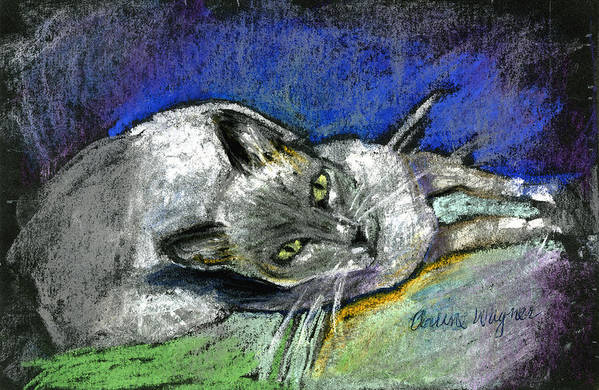 Cat Art Print featuring the pastel Michael Campbell by Arline Wagner