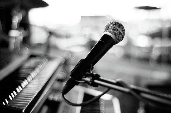 Horizontal Art Print featuring the photograph Microphone On Empty Stage by Image By Randymsantaana