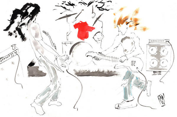 Grunge Music Art Print featuring the drawing Minimal Grunge Is Grunge Minimal by Michael Wehner