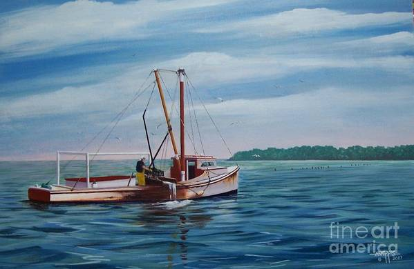 Chesapeake Bay Art Print featuring the painting Mobjack Waterman by Hugh Harris