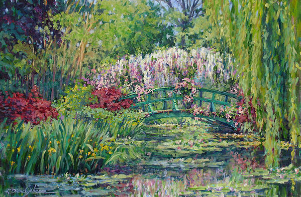 France Art Print featuring the painting Monets Pond In Spring by L Diane Johnson