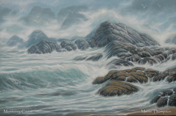 Rocky Coast Art Print featuring the painting Monterey Coast by Marte Thompson