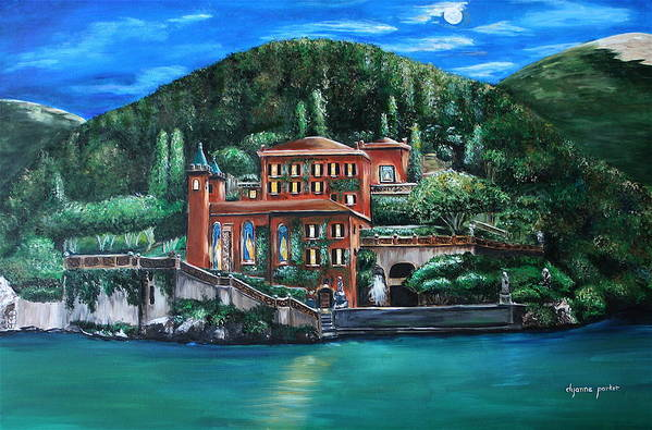 Landscape Art Print featuring the painting Moon Over Italy by Dyanne Parker