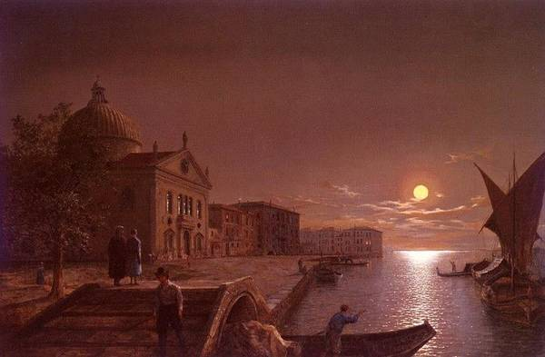 Palace Art Print featuring the digital art Moonlight In Venice Henry Pether by Eloisa Mannion