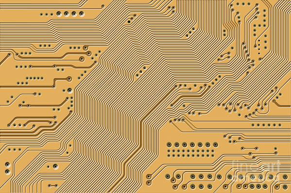 Circuit Print featuring the digital art Motherboard - Printed Circuit by Michal Boubin