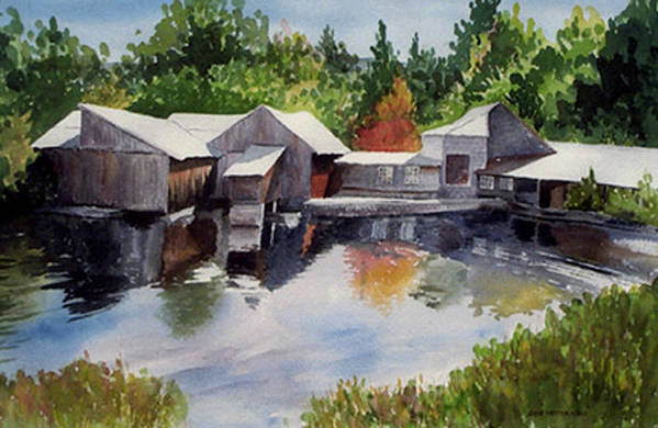 Landscape Art Print featuring the print Moulton's Mill by Anne Trotter Hodge
