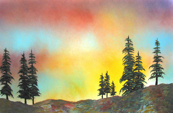 Mountain Morning High Sierra California Nature Wilderness Trees View Landscape Art Print featuring the painting Mountain Morning In The High Sierra by Ed Moore