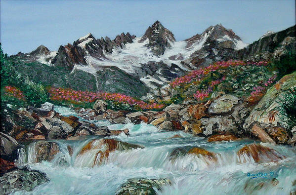 Mountain Art Print featuring the painting Mountain Stream by Quwatha Valentine