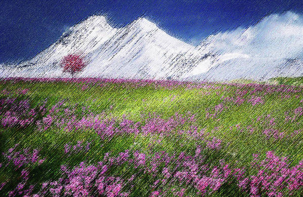 Valley Art Print featuring the digital art Mountain Valley by CR Beaumont