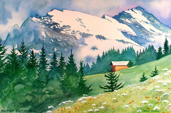 Murren Art Print featuring the painting Murren Switzerland by Scott Nelson