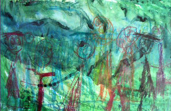 Alfred Resteghini Art Print featuring the mixed media My Family by Alfred Resteghini