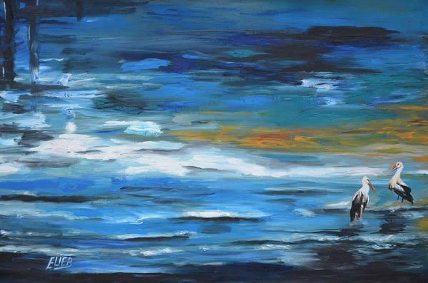 Animal Bird Sea Sumer Canvas Elie Eli Benbaruch Oil Original Art Water Art Print featuring the painting Near The Jetty by Elie Benbaruch