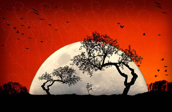 Moon Art Print featuring the digital art New Growth New Hope by Holly Kempe