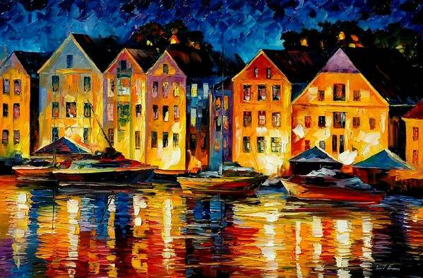 City Art Print featuring the painting Night Resting Original Oil Painting by Leonid Afremov