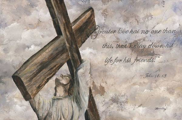 Jesus Art Print featuring the mixed media No Greater Love by Chris Brandley