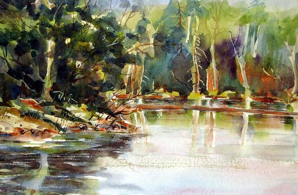 Watercolor Art Print featuring the painting Northern Relflections by Chito Gonzaga