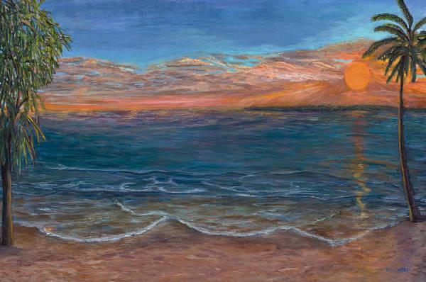 Beach Art Print featuring the painting Ocean Sunset Series- Solitude II by Rita Cortesi