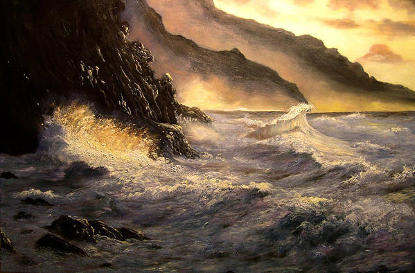 Connie Tom Art Print featuring the painting Ocean Waves by Connie Tom