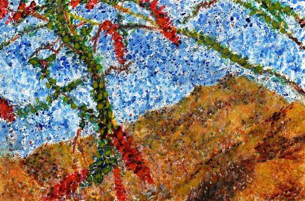 Watercolor Art Print featuring the painting Ocotillo In Bloom by Cynthia Ann Swan
