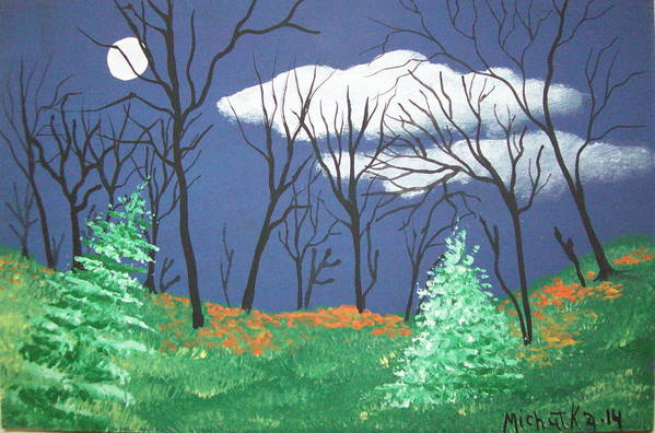 Folk Art Print featuring the painting October Evening by Susan Michutka