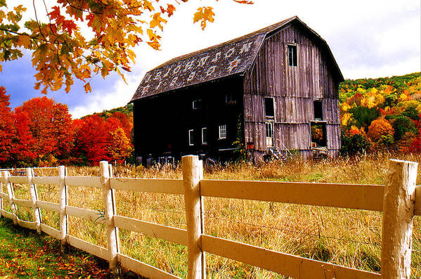 Rural Art Print featuring the photograph Old Barn In Autumn by Roger Soule