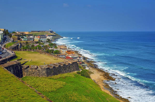 Ocean Print featuring the photograph Old San Juan Coastline by Stephen Anderson