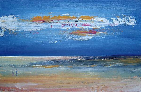 Seascape Art Print featuring the painting On The Beach by Bridgette Allan