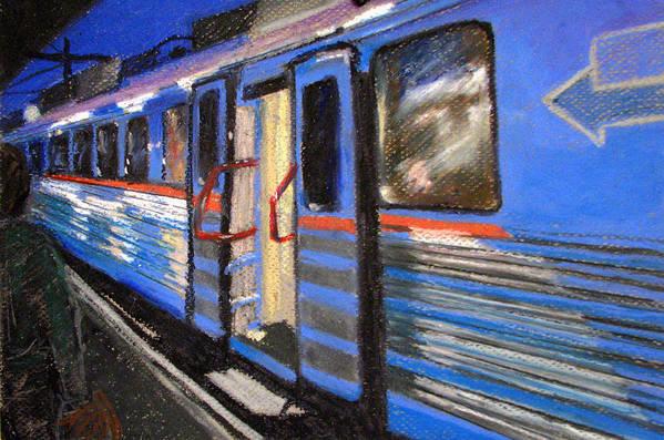 Train Art Print featuring the painting On The Platform by Art Nomad Sandra Hansen