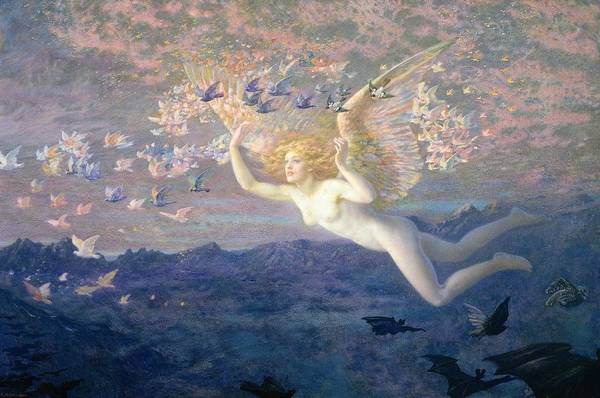 Nude Art Print featuring the painting On The Wings Of The Morning by Edward Robert Hughes