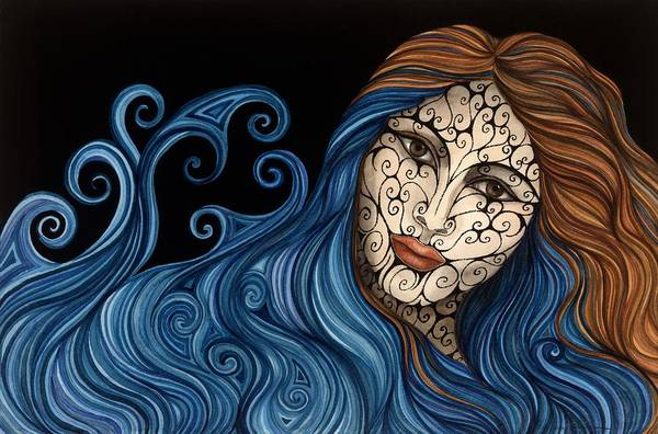 Figurative Art Print featuring the painting Out Of The Blue by Tina Blondell