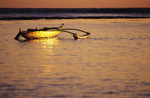 Aku Art Print featuring the photograph Outrigger And Sunset by Joss - Printscapes