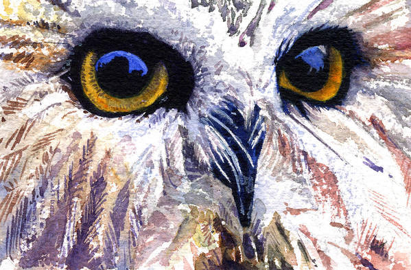 Eye Art Print featuring the painting Owl by John D Benson
