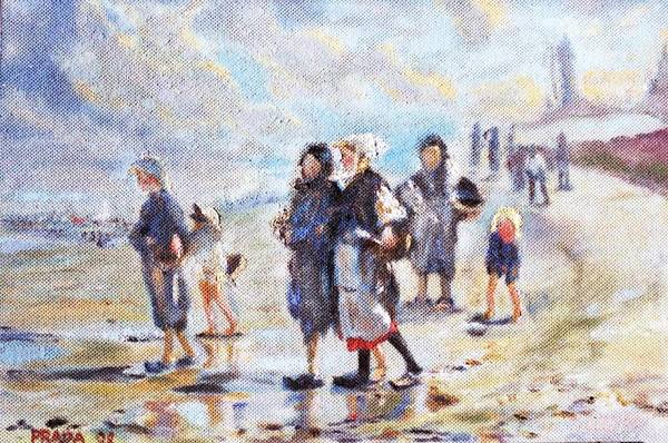 Oil Art Print featuring the painting Oyster Gatheres Of Cancale by Horacio Prada
