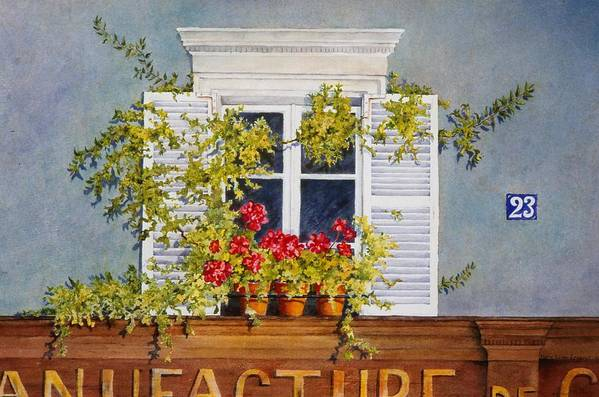 France Art Print featuring the painting Parisian Window by Mary Ellen Mueller Legault