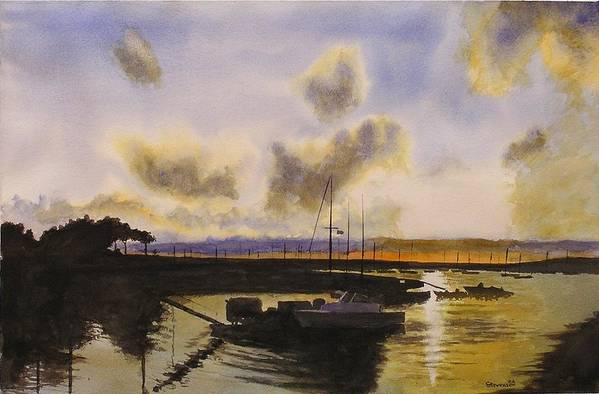 Silhouette Of Boats And Sunset Art Print featuring the painting Parker's Boatyard II by Joseph Stevenson