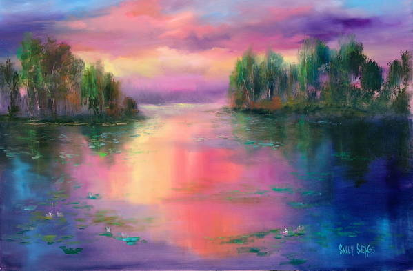 Ponds Art Print featuring the painting Passion In Provence by Sally Seago