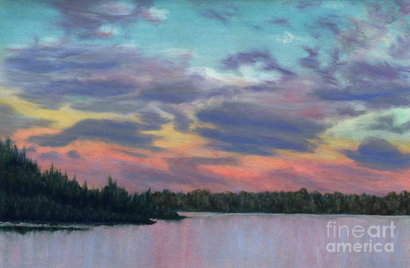 Landscape Art Print featuring the painting Pastel Sunset by Lynn Quinn