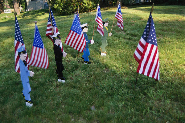 Outdoors Print featuring the photograph Patriotic Lawn Ornaments Represent by Stephen St. John