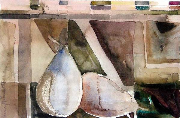 Pear Art Print featuring the painting Pear Study In Watercolor by Mindy Newman